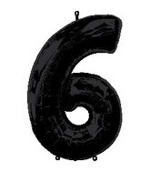 "34"" Anagram Brand Black Number 6 Balloon"