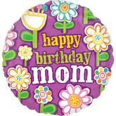 "18"" Birthday Mom Floral Pattern Balloons"
