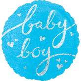 "18"" Baby Boy Script Holographic Balloon"