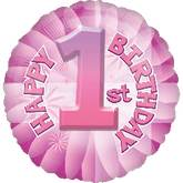 "18"" Baby&#39s 1st Birthday Pink Mylar Balloon"