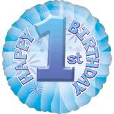"18"" Baby&#39s 1st Birthday Blue Mylar Balloon"