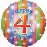 "18"" Happy 4th Birthday Mylar Balloon"