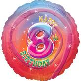"18"" Happy 8th Birthday Mylar Balloon"