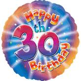 "18"" Happy 30th Birthday Mylar Balloon"