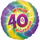 "18"" Happy 40th Birthday Mylar Balloon"
