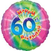 "18"" Happy 60th Birthday Mylar Balloon"