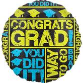 "18"" Grad Messages Blue/Yellow Balloon"