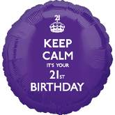 18'' Keep Calm 21st Birthday Balloon