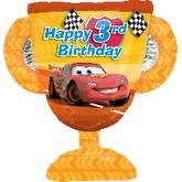 "27"" Cars Trophy 3rd Birthday Jumbo Balloon"