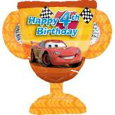 "27"" Cars Trophy 4th Birthday Jumbo Balloon"