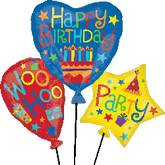 "32"" BDay Balloon Cluster Mylar Balloon"