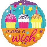 "21"" Make A Wish Cupcakes Mylar Balloon"