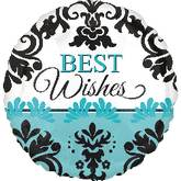 "21"" Teal Damask Best Wishes Balloon"