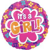 "21"" It&#39s A Girl Balloon Flowers"
