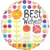 "21"" Floral Best Wishes Mylar Foil Balloon"