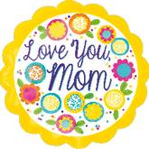 "18"" Petite Shape Love You Mom Yellow Balloon"