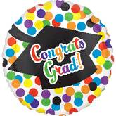 "21"" Grad Cap Dots Balloon"