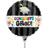 "9"" Aifill Only Congrats Grad Wavy Bursts Balloon"