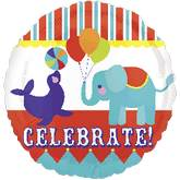 "21"" Big Top Animals Celebrate Mylar Balloon"
