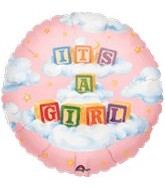 "18"" It&#39s A Girl Blocks Mylar Balloon"