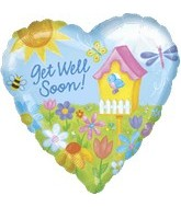 "18"" Get Well Soon Bird House Balloon"