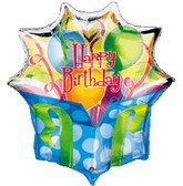 "28"" Jumbo Birthday Present Mylar Balloon (SLIGHT DAMAGE)"
