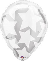 "18"" Shape Perfect Balloon White Stars"