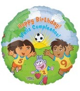 "18"" Dora & Diego Soccer Happy Birthday"
