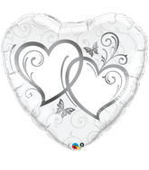 "36"" Heart Entwined Hearts Silver"