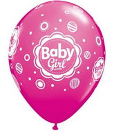 "11"" 6 Count Print Retail Pack Baby Girl Dots"