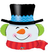 "36"" Smiling Snowman Balloon Packaged"