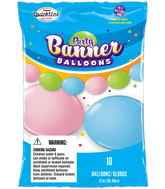 Party Banner Balloons 10 Count Pastel Assorted