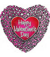 "18"" Happy Valentine's Day Pink Cheetah"