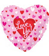 "18"" Love Ya! Bouncing Hearts Pink Mylar Balloon"