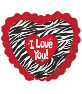 "35"" I Love You Zebra Red Ruffle"
