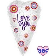 "25"" Love You Skinny Heart Mylar Balloon"