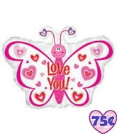"22"" Love You Balloon Pink Hearts Butterfly Balloon"