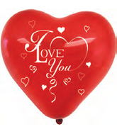 "12"" 50 Count I Love You Latex Heart Balloon"