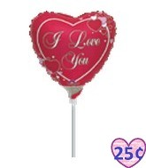 "9"" Airfill I Love You Script with Hearts"