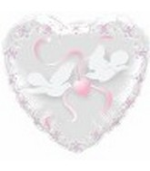 "22"" Doves Heart See-Through Balloon"