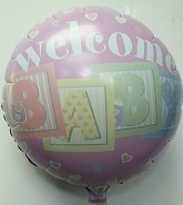 "18"" Welcome Baby Blocks Mylar Balloon"